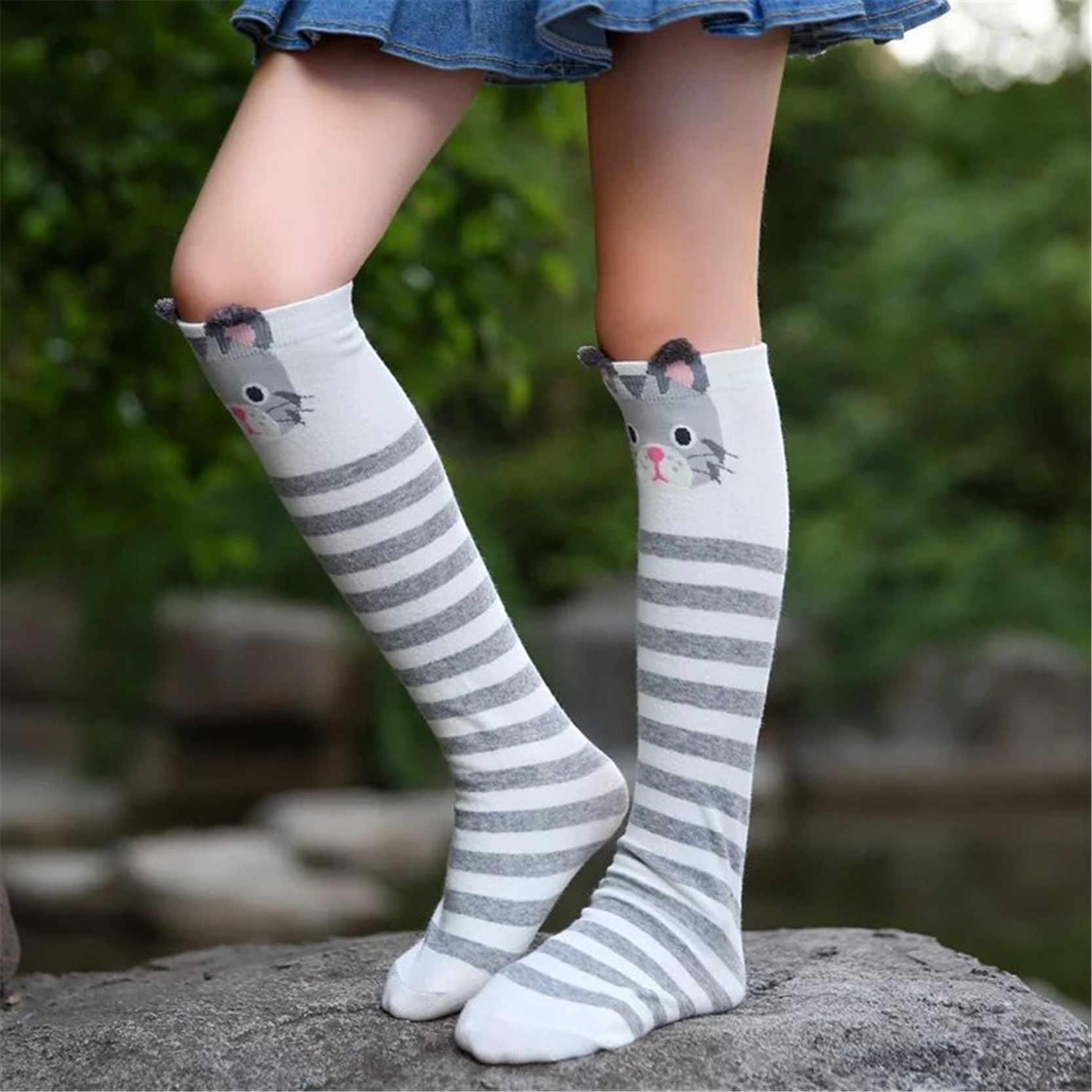 435d04e8b ... Cotton Knee High Socks For Kids Girl Cute Panda Cat Fox Cartoon Long  Socks Children Winter ...