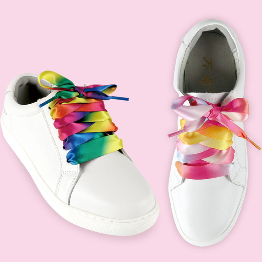 Colorful Candy Gradient Shoelaces Strings Lace Shoelaces Satin Ribbon Flat Silk