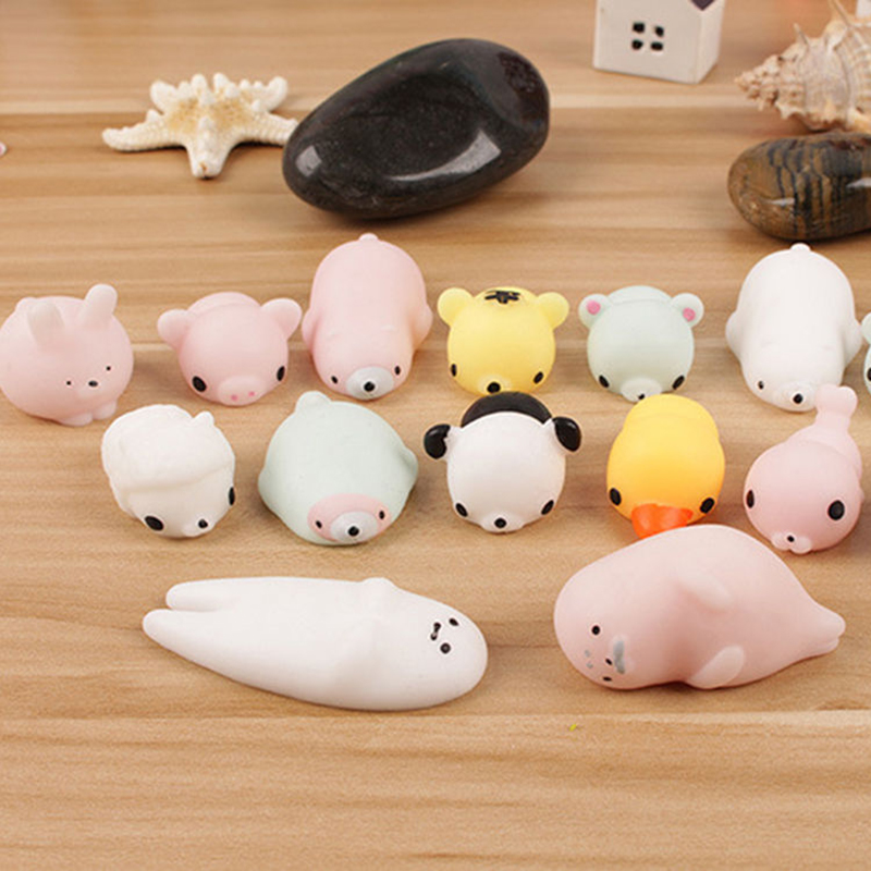 10Pcs/lot Cute Soft Animal Squeeze Stretch Compress Squishy Decompression Toys Silicone Stress Reliever Healing Toys