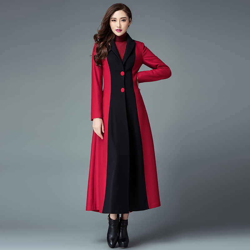Épais xxxl Manteau Mode Longue Laine Veste Mince Chaud Long Cachemire Élégante Femmes Nouvelle Single S D'hiver breasted rouge Noir Vestes Manteaux IzAqUOwd
