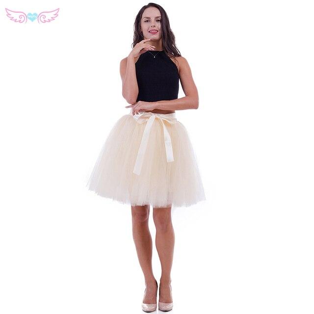 28f244b75 2017 7 capas 50 cm Midi tul falda adulto alta cintura malla tutú faldas  mujeres enaguas