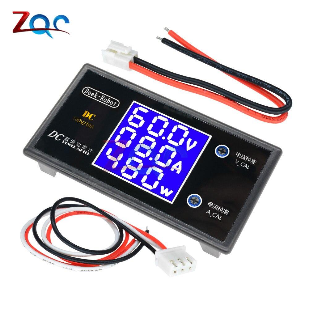 DC 0-100V 10A 1000W LCD Digital Voltmeter Ammeter Wattmeter Voltage Current Power Meter Volt Detector Tester Monitor 12V 24V 36V