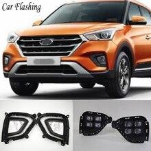 자동차 flasing 1Pair DRL LED 주간 러닝 라이트 안개 램프, 현대 Creta IX25 용 노란색 방향 지시등 2017 2018 2019 2020