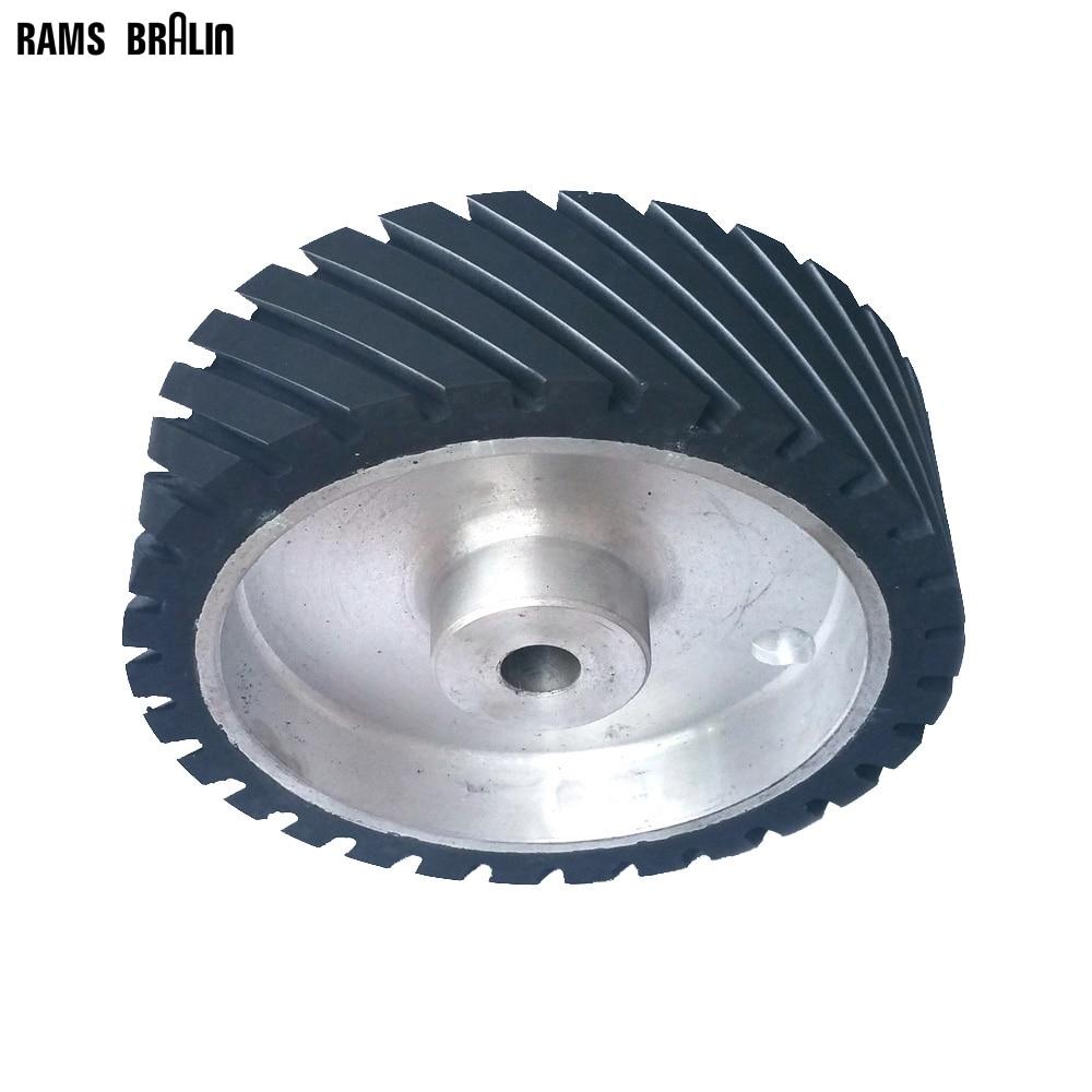 250*75mm Grooved Rubber Contact Wheel Dynamically Balanced Belt Sander Polisher Wheel Sanding Belt Set цена