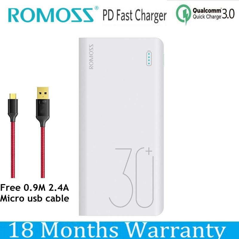 Romoss 30000 mah batterie externe Charge rapide QC 3.0 Powerbank USB C pd 9 V 2A 12 V 1.5A pour iPhone XS Xiaomi Mi8 Samsung S9 Nexus 6 p
