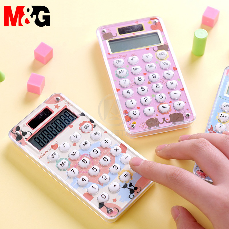 Andstal Mini Cartoon Pocket Calculator Cute Handheld Calculators Small Pink Solar Electronic Calculator Office Coin Batteries