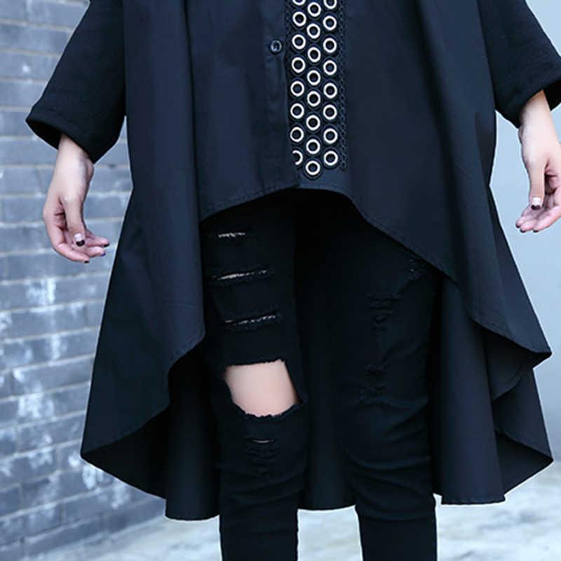 """CHICEVER осень женская рубашка блузка Топ рукав """"летучая мышь"""" Черный Высокая талия Свободные Большой размер асимметрия рубашки Blusa одежда мода"""