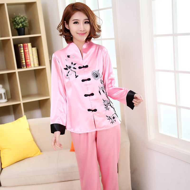 Pink Traditional Chinese Women Silk   Pajamas     Set   Embroidery Flower Pyjamas Suit Home Wear Sleepwear Flower 2PCS M L XL XXL 3XL