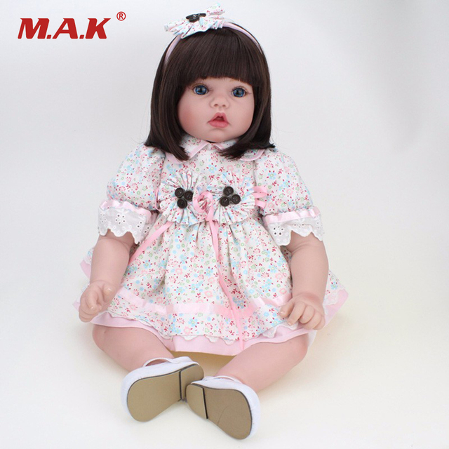 "55cm Silicone Vinyl Reborn Dolls Model Toys 22"" Lovely Girl Baby Model Newborn Doll Model With the   Floral Dress Clothing Kids"