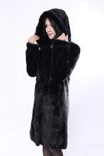 natural real mink coat ,mink fur coat black length of 100cm,long mink fur coat,genuine fur coat with a hood