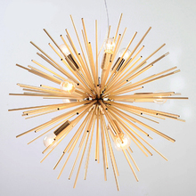 Postmodern light luxury aluminum paint golden tube ball chandelier simple 12 heads restaurant decoration LED E14 bulb lighting