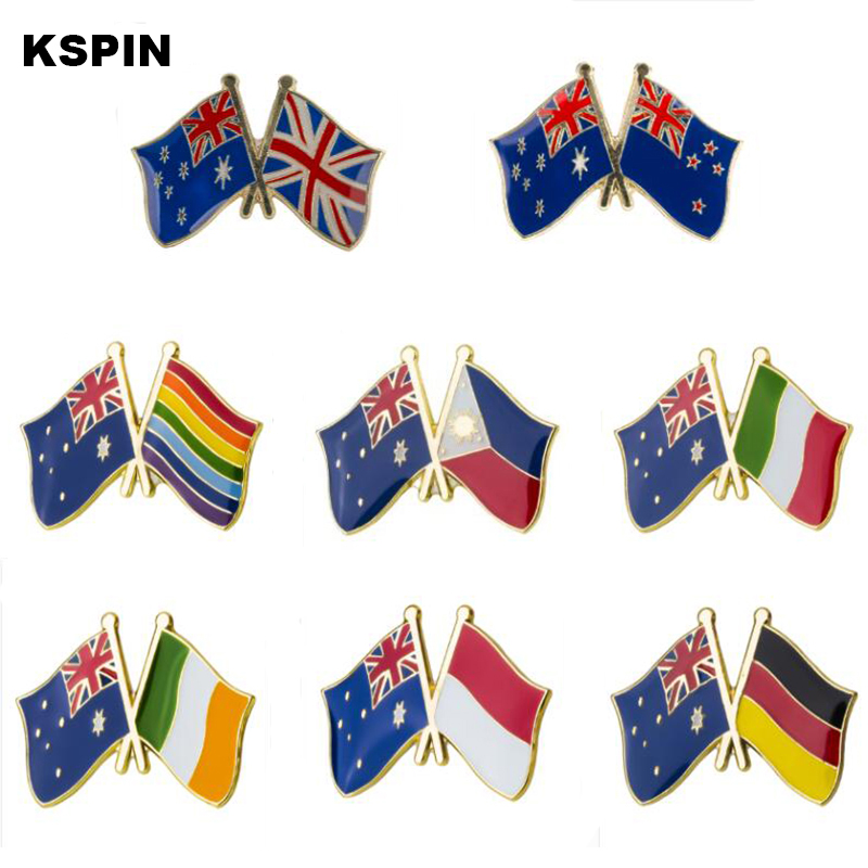 Systematic Australia Friendship Flag Metal Buttons For Clothes Icon Backpack Brooches Pins For Meeting Party Apparel Sewing & Fabric