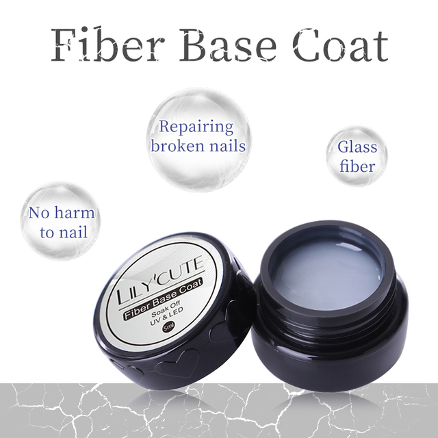 LILYCUTE 5ml Fiber Base Coat Nail Gel Strengthening Repairing Broken Nails
