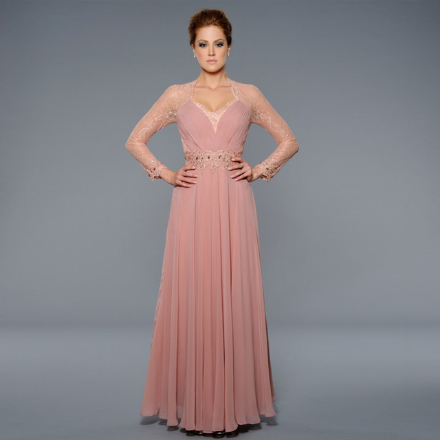 c05b971072a 2016 New Long Sleeves A-Line Party Dress Beads Mother of the Bride wear  Chiffon