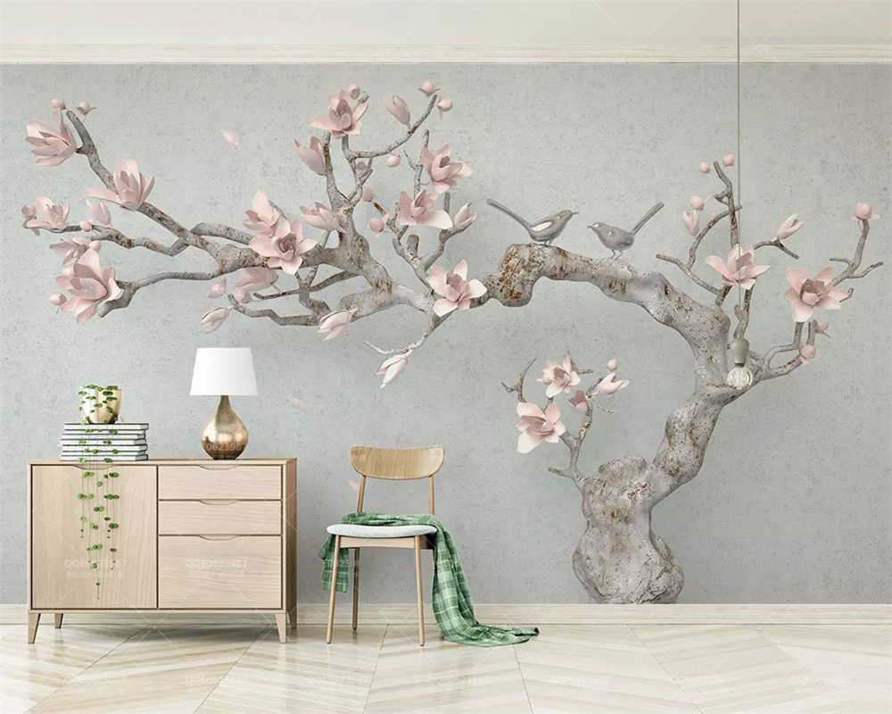 beibehang Custom silky papel de parede wallpaper three dimensional pink magnolia tree branches embossed new Chinese background in Wallpapers from Home Improvement