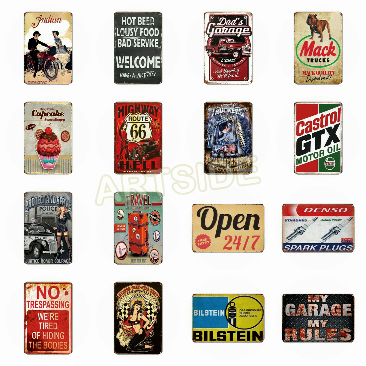 Castrol GTX Indian Mobil Route 66 Motor Oil Tin Signs Dad