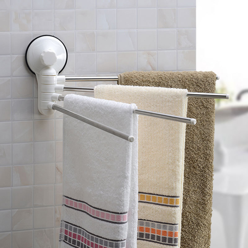 Four Poles Stainless Steel Wall Mounted Rotating Towel Bar Rack For Bathroom Movable Bars Products