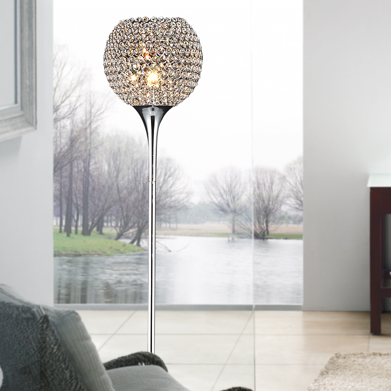 Modern luxury ringent crystal ball living room floor lamps for Modern floor lamps living room
