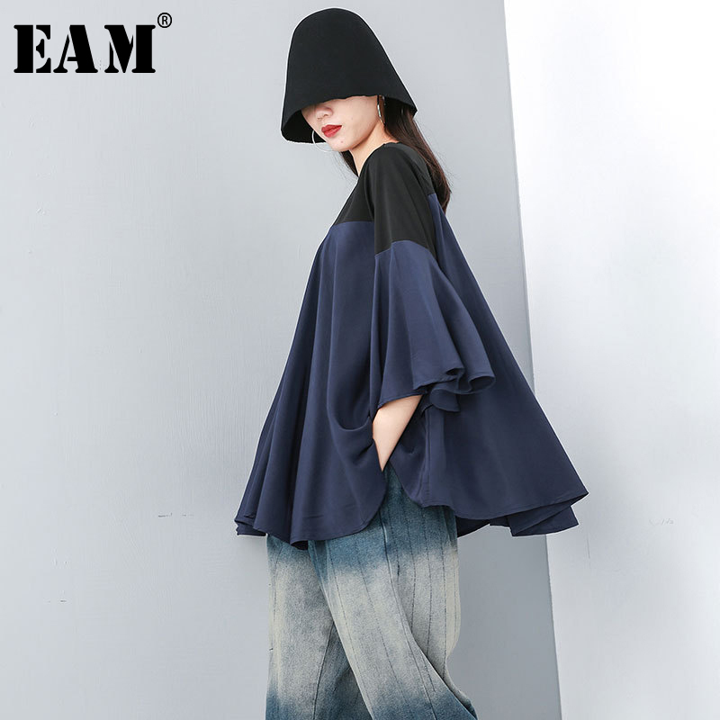 [EAM] 2019 Spring Fashion New Solid Color Split T Shirt Korean Loose Modal Irregular T Shirts Tops Thin Woman T29800