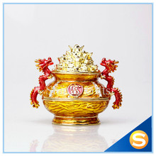 Cornucopia Trinket Jewelry Box China Treasure Bowl Home Display with Dragons