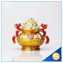 Cornucopia Trinket Jewelry Box China Treasure Bowl Home Display with Dragons