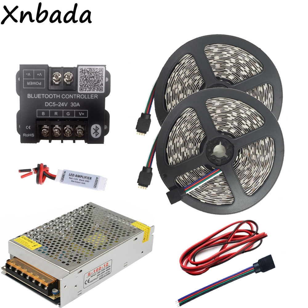 DC12V 5050 60Led/m RGB Led Strip Led Light Flexible Tape+Bluetooth Led Controller+12V 8.5Led Power Adapter Kit 10M 10m smd 5050 rgb led strip set 60led m flexible tape home decoration lighting 44keys ir controller 12v 10a power supply adapter