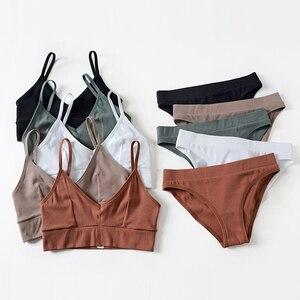 Image 1 - Wriufred Cotton Thread Seamless Women Leisure Bra Set Plus Size Vest Sleep Underwear Tops Sexy V neck Fitness Wire Free lingerie
