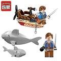45 unids piratas serie tiburones contingente de bloques de construcción de figuras de acción ladrillos niños educativos modelo diy juguete para los regalos de los niños