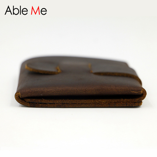 Creative Hand Made And Custom Made Men Wallet Short Section One Leather Purse Design For Business Elegant Male Fait A La Main