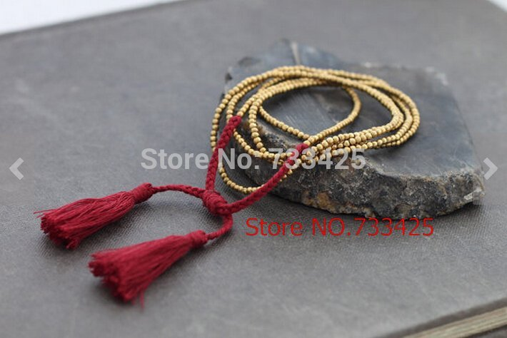 Simple Long Red Tassel pendant Necklace women handmade woven with cotton cord ,brass beads and slide closure