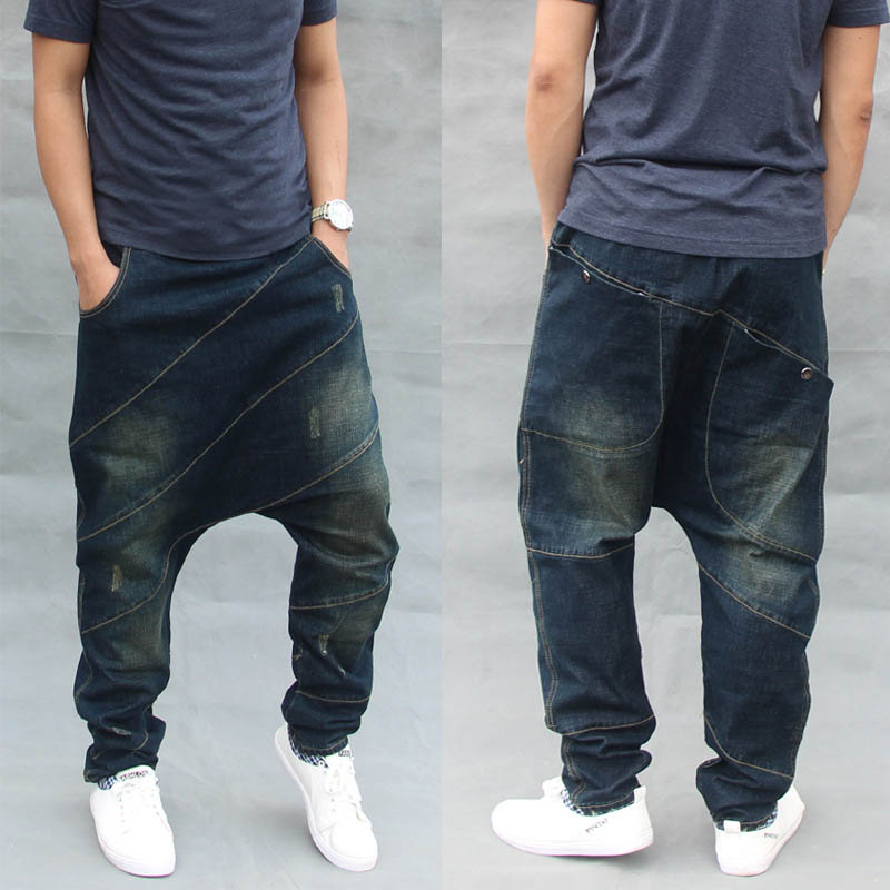 Mcikkny Fashion Men`s Baggy Hip Hop Jean Pant Loose Straight Harem Denim Trousers For Man Elastic Waist Drawstring (3)