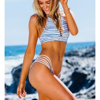 NAKIAEOI 2018 New High Neck Bikini Women Swimsuit Swimwear Bandage Cut Out Brazilian Bikini Set Print Summer Beach Bathing Suit 1