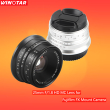 Black/Sliver 25mm F/1.8 HD MC Manual Focus Wide Angle Lens for Fujifilm FX Camera X-T10 X-T2 X-PRO2 X-PRO1 X-E2 X-E1 X-M1 M2 M3