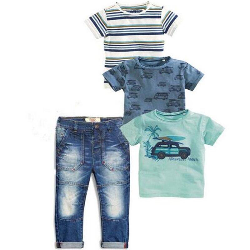 New 2019 Summer Children Sets Baby Clothing Sets Boys 4pcs Set Striped Suit  T-shirts + Blue T-shirt Car + T-shirt + Denim Jeans