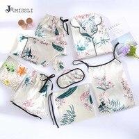 JRMISSLI Flower Print Shorts Woman Pajamas Set Silk Simple Female Home Wear Clothing Spaghetti Strap 7 Pieces Pyjamas Suit