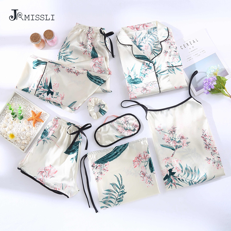 JRMISSLI Flower Print Shorts Woman   Pajamas     Set   Silk Simple Female Home Wear Clothing Spaghetti Strap 7 Pieces Pyjamas Suit