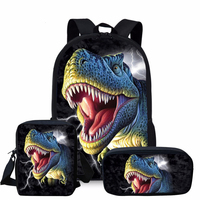 ThiKin 3 adet Set 3D Jurassic dünya dinozor sırt çantası seti genç erkekler için serin öğrenci çocuklar okul sırt çantası çocuk okul çantalarını