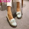 ESVEVA Primavera/Otoño Slip On Punta Redonda Plana Zapatos de Las Mujeres Mezcladas Cordón Del Color de La Boca baja de LA PU de Cuero Suave Zapatos Miss Tamaño 34-43Pink