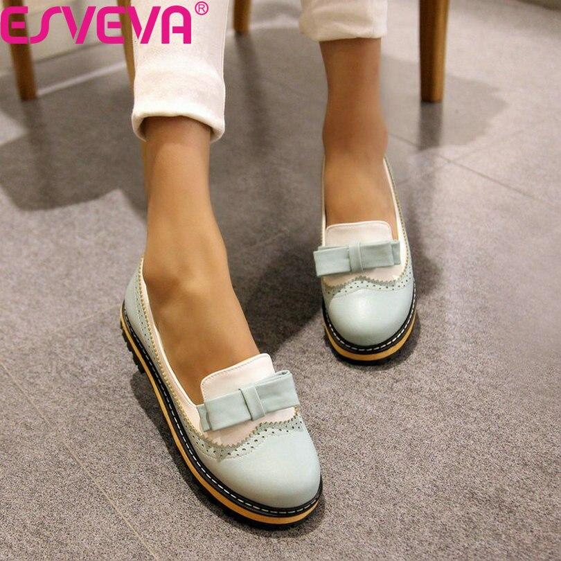 Esveva primavera/otoño slip on punta redonda plana zapatos de las mujeres mezcla
