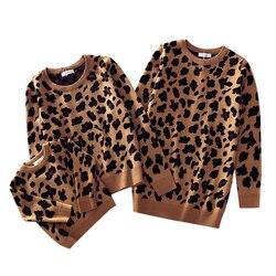 Roupas pai-filho de Família Olhar Leopardo Blusas Combinando Família Roupas Mãe e Filha Filho Bebê Meninos Meninas Casacos de Inverno Quente