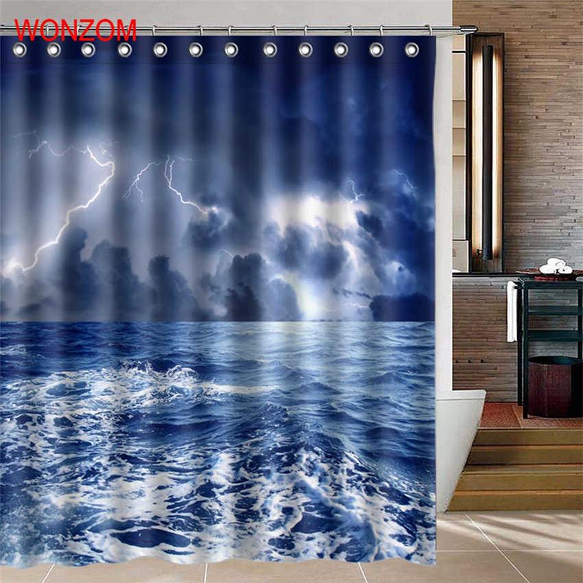 WONZOM Perahu Berlayar Shower Gorden dengan 12 Kait Untuk Kamar Mandi Decor Modern Landscape Mandi Tahan Air Tirai Hadiah petir