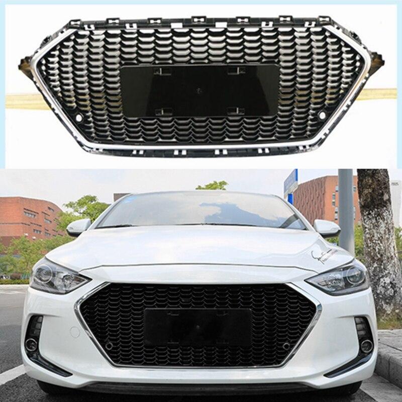 ABS Plastic Front Bumper Front Grille Front Grilles Shiny Front Center Grills 1Pcs Fit For Hyundai Elantra 2017 2018