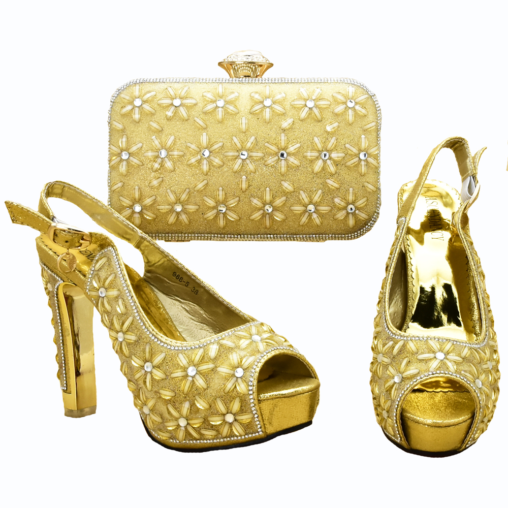 High heel 4.7 inches gold color italian shoes and bag matching set gold sandal shoes and clutches bag with many stones SB8310-5High heel 4.7 inches gold color italian shoes and bag matching set gold sandal shoes and clutches bag with many stones SB8310-5