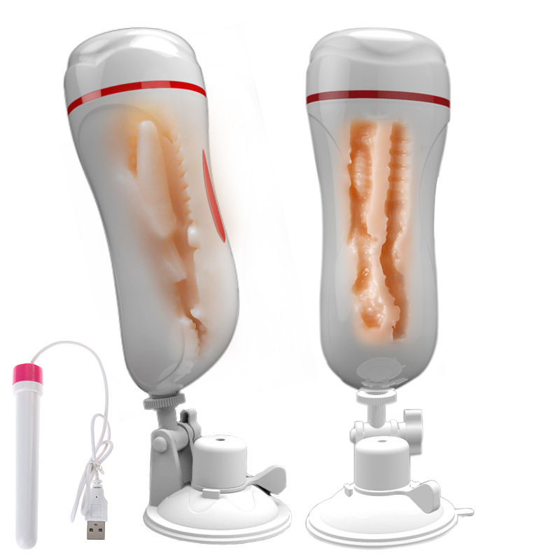 Double Tunnels Vagina Anal Masturbation Cup Blowjob Vibrator Realistic Pussy Male Masturbator for Man Suction Cup