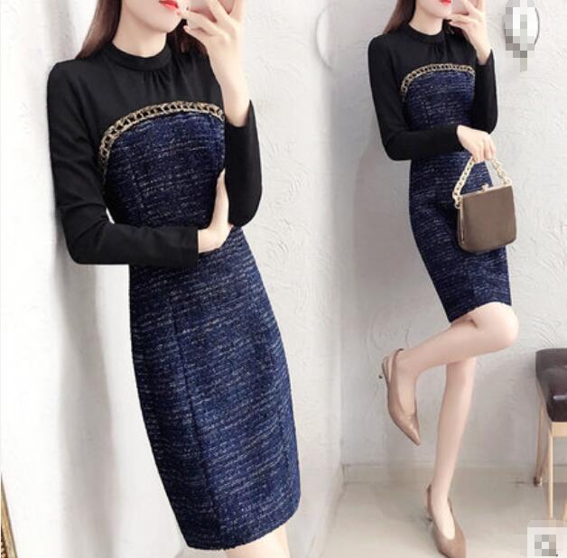 Patchwork printemps 2018 nouveau manches longues genou longueur noir bleu streetwear filles femmes robes