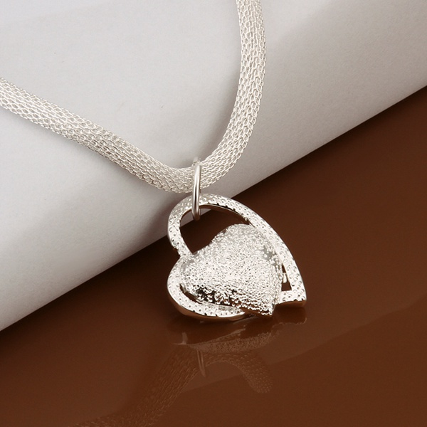 silver color gorgeous charm fashion charm heart wedding lady love necklace noble luxury 18 inches Silver jewelry , N270 4