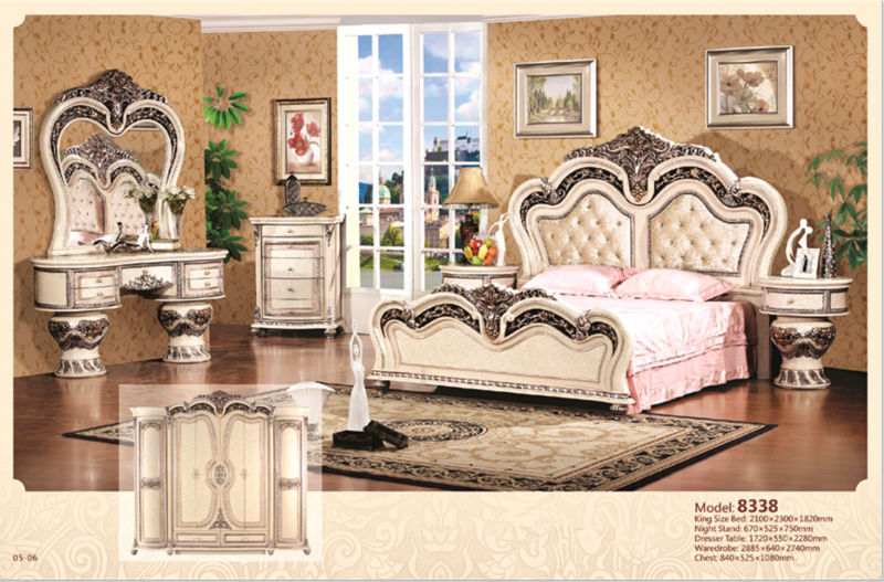 Superior Luxury Suite Bedroom Furniture Of Europe Type Style Including 1 Bed 2  Bedside Table 1 Chest A Dresser And A Makeup Chair