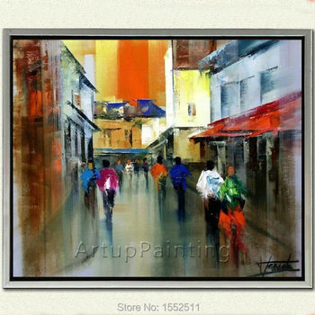 Paris Street oil Painting  abstract streetscape painting hand painted drawings Home Decor Home Decoration artworks