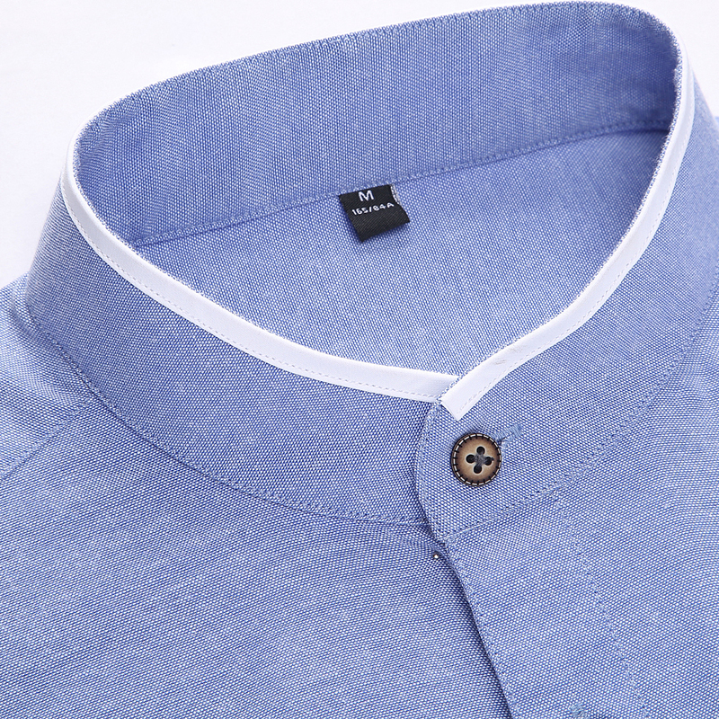 bbd090bb9202 New Fashion Casual Mens Shirt Long Sleeve Mandarin Collar Slim Fit Shirt  Men Korean Business Mens Dress Shirts Men Clothes M 5XL-in Casual Shirts  from Men's ...