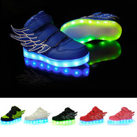 2017 new colorful shoes LED flash USB charging children PU shoes for boys and girls leisure sports shoes size 25 37WEIDA